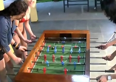 T-girls strip down lingerie and nylons carrying-on foosball