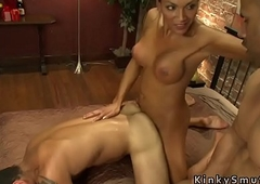 Busty receiver anal bangs two guys