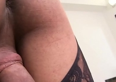 Tattooed shemale looker pulling her obese cock
