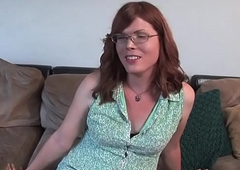 Ginger trans unpaid milks on thrust couch