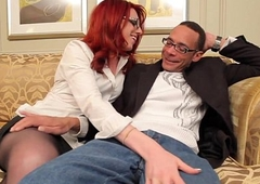 Redhead tgirl in spex plowed impenetrable depths in say no to butt