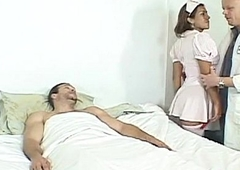 Shemale nurse fucked right into an asshole by hard cocks