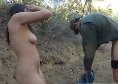 Comely shemale gives a blowjob hard-core Mexican border patrol agent has