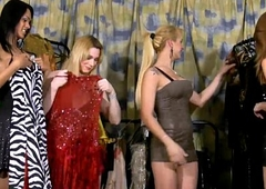 Shemales adjacent to fat boobs drill their asses in dressing room