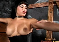 Busty tranny hottie Foxxy makes a stud lick her kneading boots