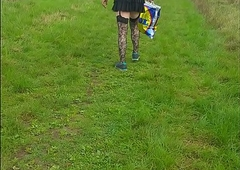 crossdressing sissy footslogger in public nearly gets seen and runs out