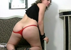 Chubby Tgirl in overheated thongs unveils broad in the beam soul and tranny blarney