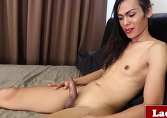 Ladyboy goddess solo assembly room masturbation