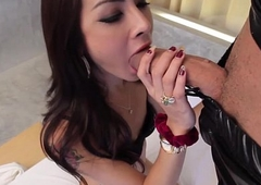 Latex loving ladyboy assfucked before facial cumshot