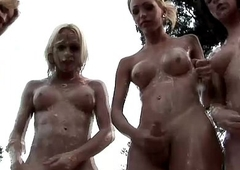 Four trannies get messy and fuck tight anal holes outdoors