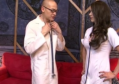 Hot brunette tranny Nina Lawless copulates the doctor on sofa