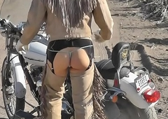 LEATHER BIKER SHEMALE IN NEVADA Wantonness WITH BUTTPLUG